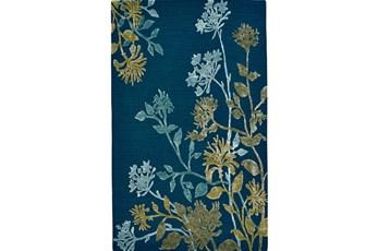 96X132 Rug-Blue And Green Botanicals