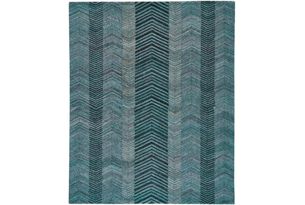 60X96 Rug-Turquoise And Charcoal Herringbone