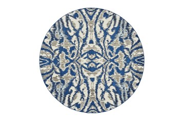 105 Inch Round Rug-Royal Blue Kaleidoscope Damask