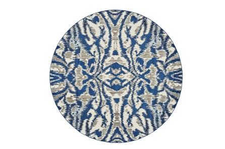 105 Inch Round Rug-Royal Blue Kaleidoscope Damask