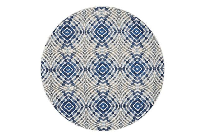 105 Inch Round Rug-Royal Blue Kaleidoscope - 360