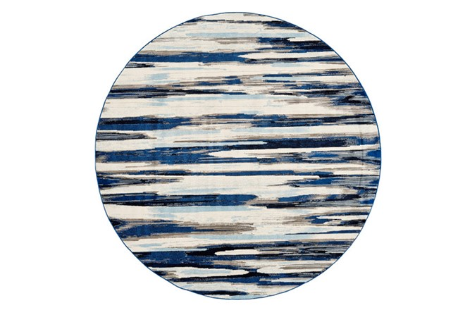 105 Inch Round Rug-Royal Blue Watermark Strie - 360