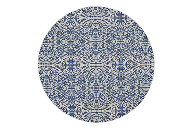 105 Inch Round Rug-Royal Blue Distressed Damask - 360