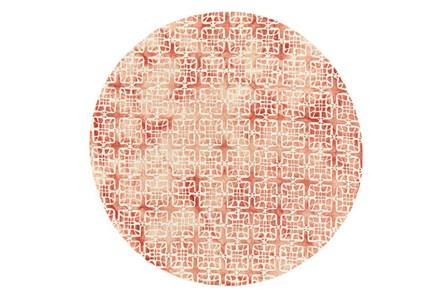 120 Inch Round Rug-Red Tie Dye  Cubes