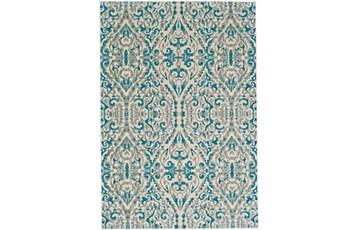 26X48 Rug-Turquoise Distressed Damask