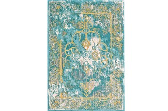 26X48 Rug-Aqua And Yellow Distressed Medallion