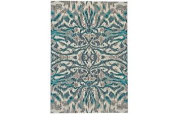 26X48 Rug-Turquoise And Grey Kaleidoscope Damask