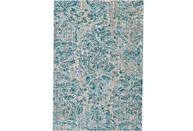 63X90 Rug-Blue And Grey Strie Damask - 360