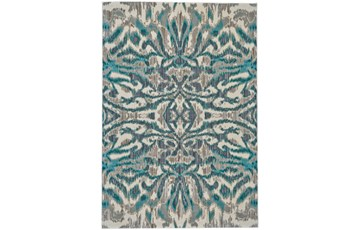 63X90 Rug-Turquoise And Grey Kaleidoscope Damask