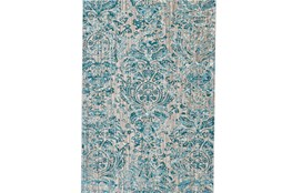 94X132 Rug-Blue And Grey Strie Damask