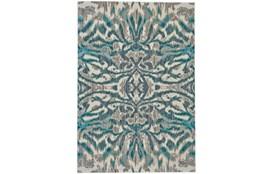 94X132 Rug-Turquoise And Grey Kaleidoscope Damask
