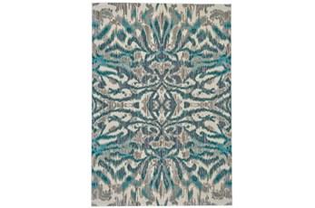 122X165 Rug-Turquoise And Grey Kaleidoscope Damask