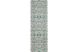 31X96 Rug-Turquoise Distressed Damask