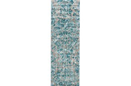 31X96 Rug-Blue And Grey Strie Damask