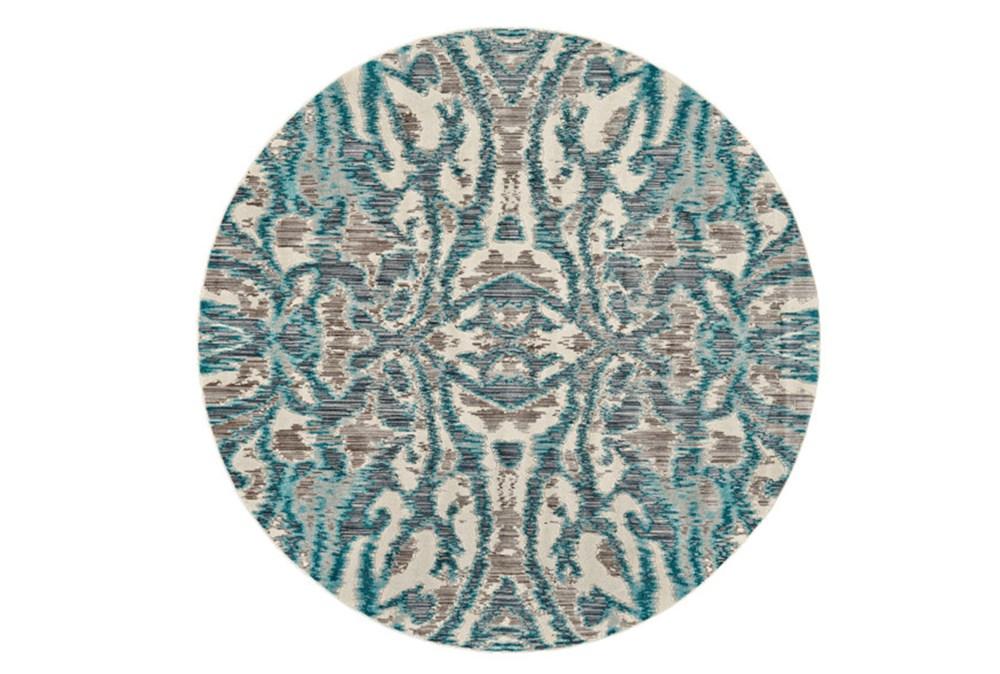 105 Inch Round Rug-Turquoise And Grey Kaleidoscope Damask