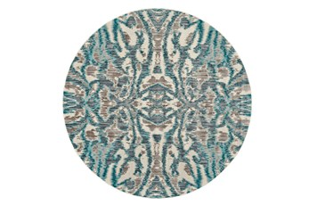 105 Inch Round Rug-Turquoise And Grey Kaleidoscope Damask