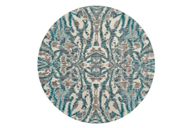 105 Inch Round Rug-Turquoise And Grey Kaleidoscope Damask - 360
