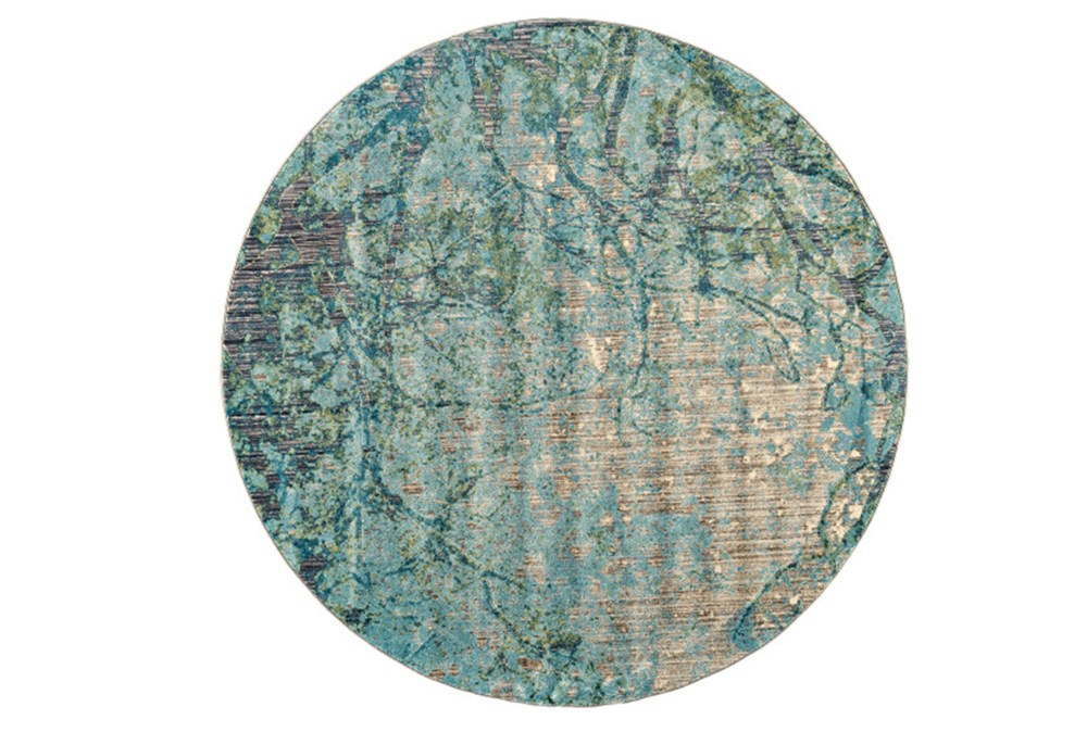 105 Inch Round Rug-Aqua And Green Tangled Web