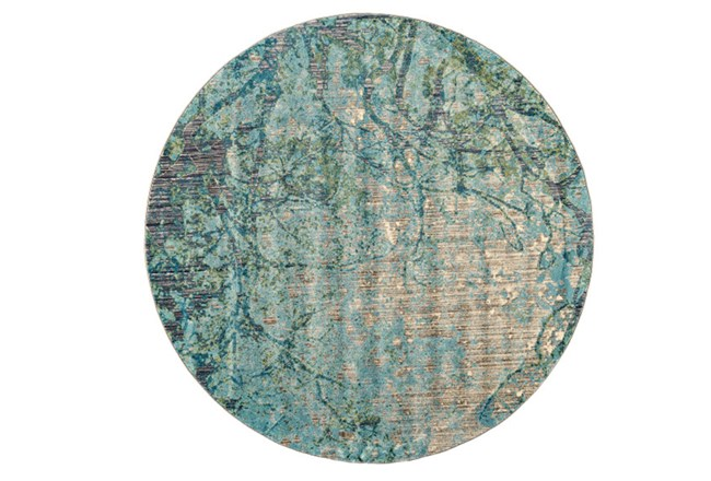 105 Inch Round Rug-Aqua And Green Tangled Web - 360