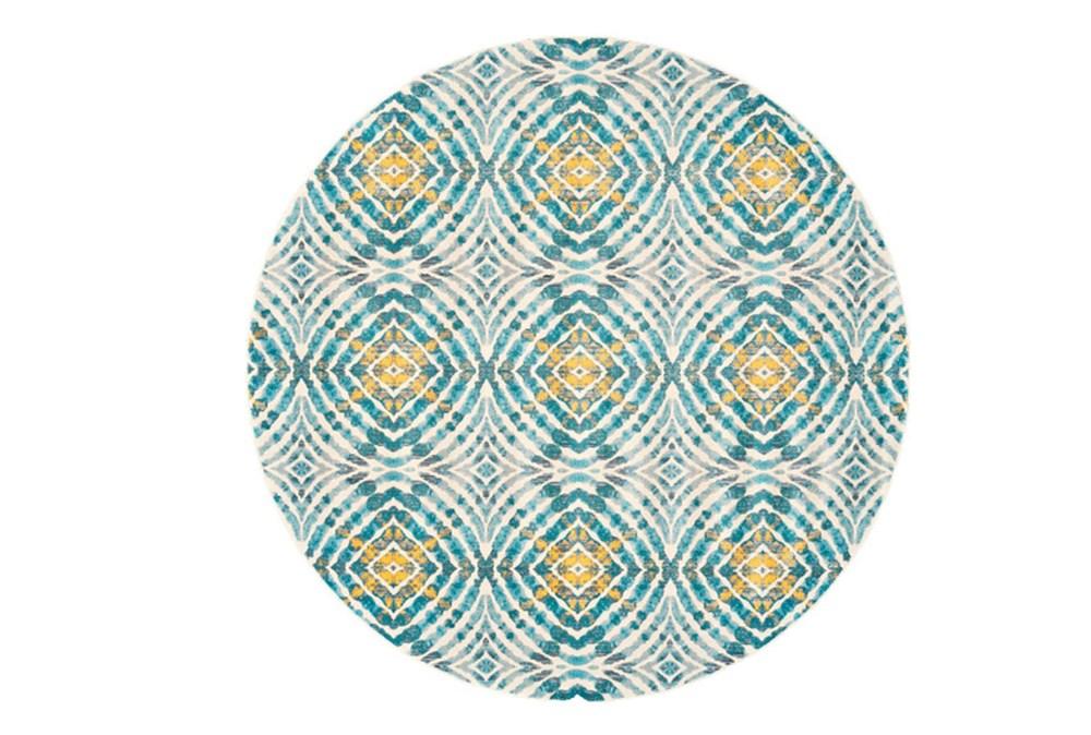 105 Inch Round Rug-Aqua And Yellow Kaleidoscope