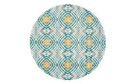 105 Inch Round Rug-Aqua And Yellow Kaleidoscope