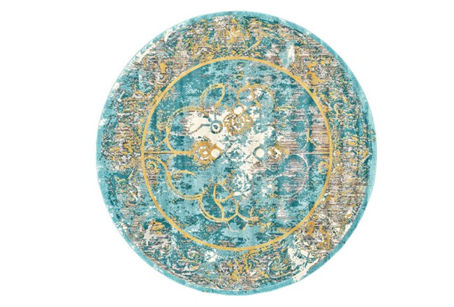 105 Inch Round Rug-Aqua And Yellow Distressed Medallion - 360