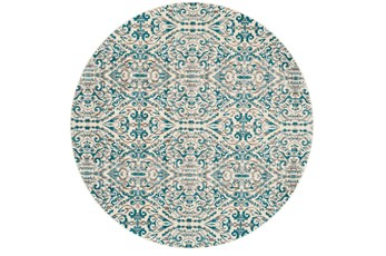 105 Inch Round Rug-Turquoise Distressed Damask
