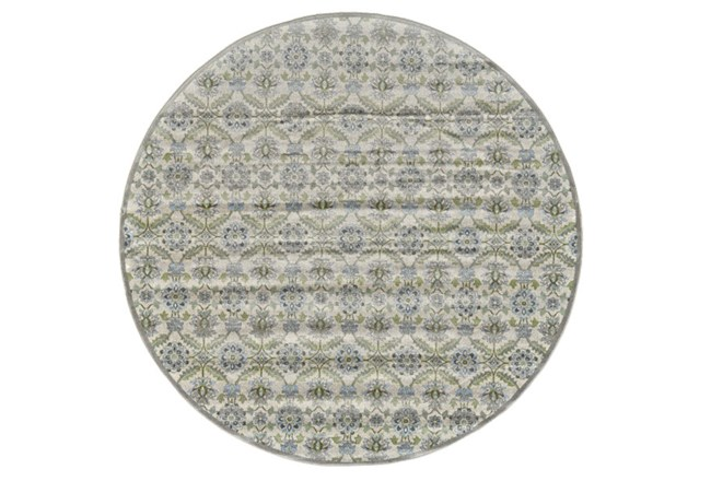 96 Inch Round Rug-Spa And Green Small Floral Medallions - 360