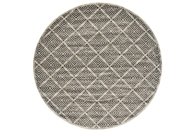 96 Inch Round Rug-Charcoal Distressed Diamonds - 360
