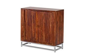 Mango Wood Finish Sliding Door Cabinet