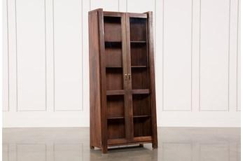 Acacia Wood Slant Tall Cabinet