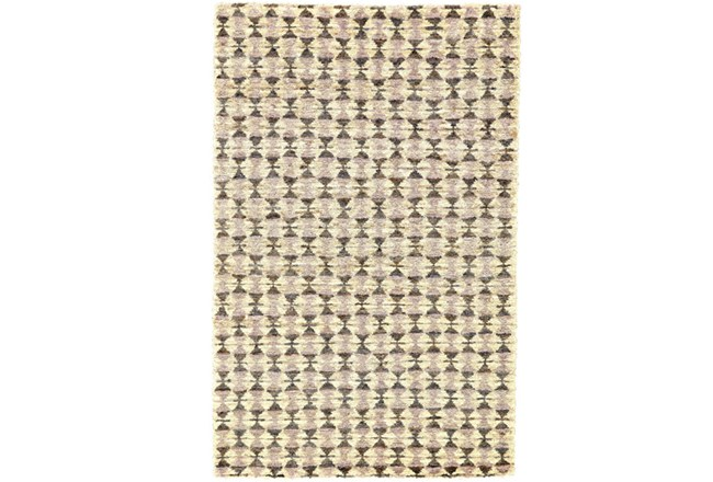 93X117 Rug-Violet Geometric Hand Knotted Jute - 360