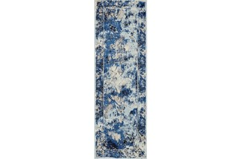 31X96 Rug-Royal Blue Distressed Medallion