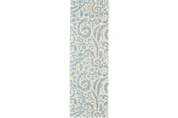 31X96 Rug-Light Blue Paisley Floral