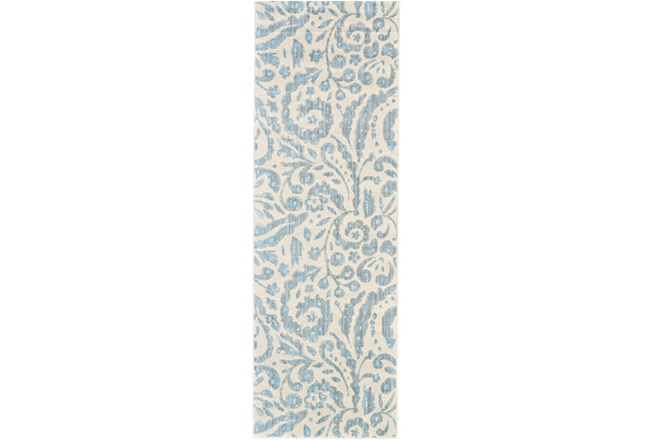 31X96 Rug-Light Blue Paisley Floral - 360