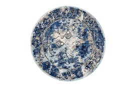 105 Inch Round Rug-Royal Blue Distressed Medallion