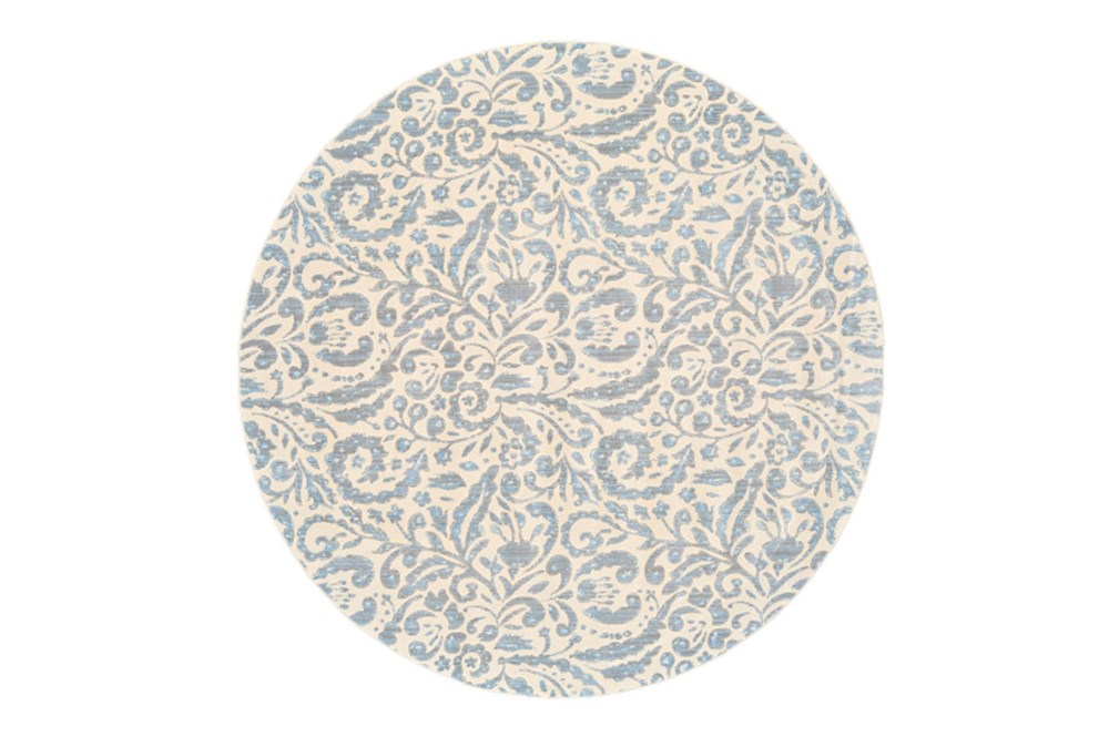 105 Inch Round Rug-Light Blue Paisley Floral