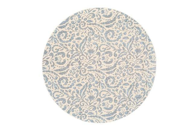 105 Inch Round Rug-Light Blue Paisley Floral - 360