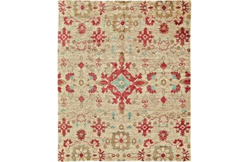 48X72 Rug-Red And Aqua Hand Knotted Jute