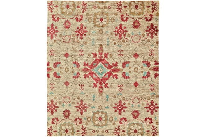 66X102 Rug-Red And Aqua Hand Knotted Jute - 360