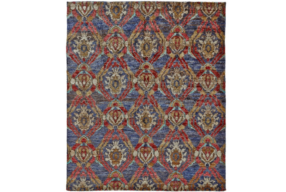 66X102 Rug-Navy And Red Hand Knotted Jute