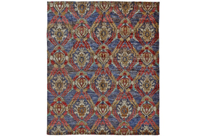 66X102 Rug-Navy And Red Hand Knotted Jute - 360