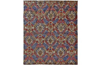 48X72 Rug-Navy And Red Hand Knotted Jute