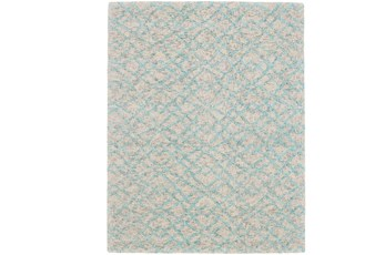 42X66 Rug-Aqua And Oatmeal Shibori Diamonds
