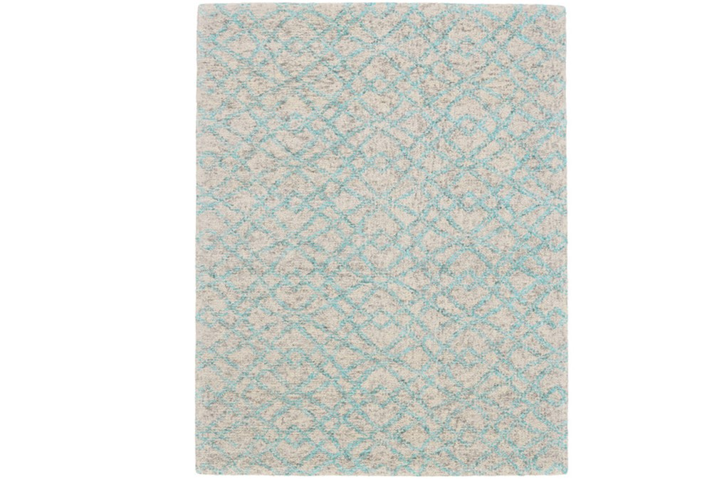 24X36 Rug-Aqua And Oatmeal Shibori Diamonds