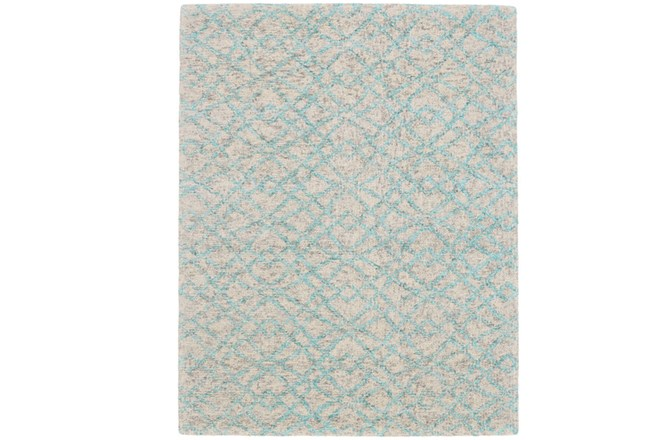 24X36 Rug-Aqua And Oatmeal Shibori Diamonds - 360