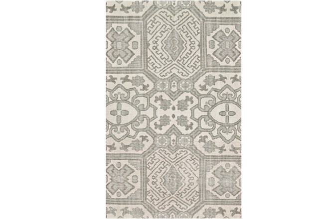 66X102 Rug-Graphite Hand Knotted Global Pattern - 360