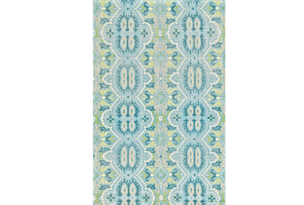 93X117 Rug-Aqua And Green Hand Knotted Global Pattern