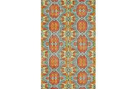 93X117 Rug-Orange And Aqua Hand Knotted Global Pattern