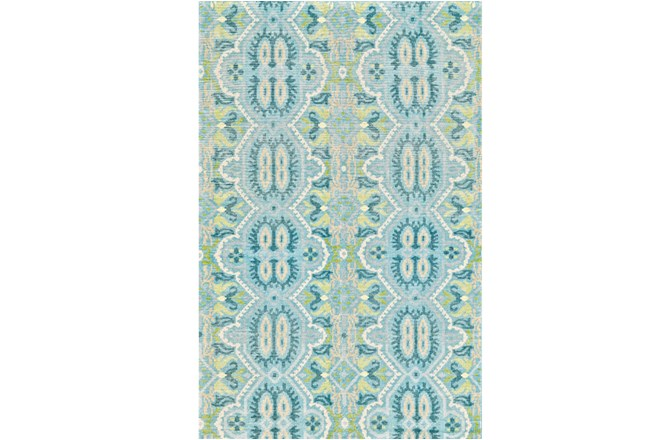 114X162 Rug-Aqua And Green Hand Knotted Global Pattern - 360